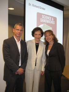 "Dr. Grinker, Former First Lady Rosalynn Carter and ASF President Alison Singer at ""Science and Sandwiches"""